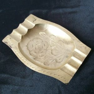 Vintage Etched Brass Ashtray with Floral Motif